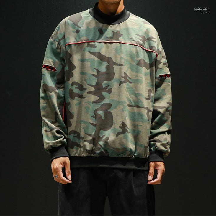 Мода Повседневная Street Style Homme Пуловер толстовки осень Мужские дизайнерские Толстовки Прохладный Ripped Камуфляж Печатные толстовки