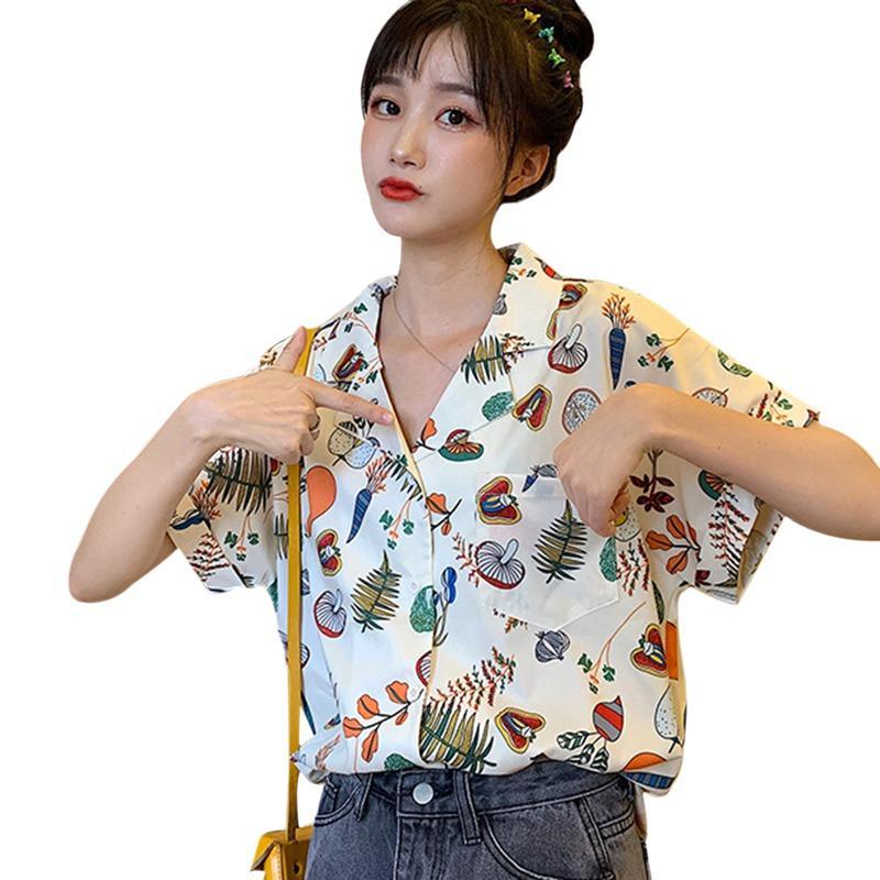 2020 Mode Turn-Down-Kragen-Bluse Frauen beiläufige Damen kurze Hülsen-Strand-Hemd drucken