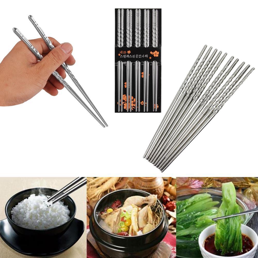 5 Çiftleri Paslanmaz Çelik Konu Chopsticks Çin Chopsticks Seti Metal Kaymaz Tasarım Mutfak Aracı Taşınabilir Yeniden kullanılabilir