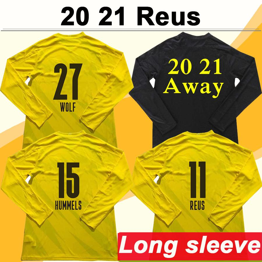 2020 2021 HUMMELS REUS Long Sleeve Mens Soccer Jerseys PISZCZEK HAZARD Home Away Football Shirt SCHMELZER WOLF Uniforms