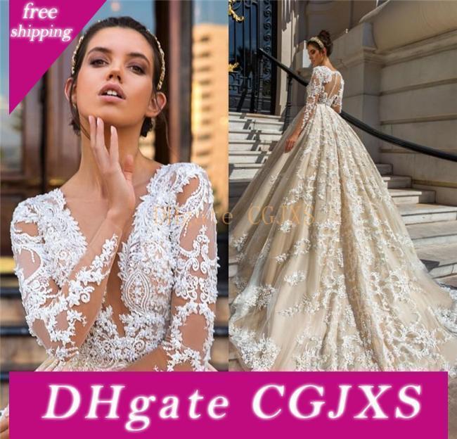 Vestidos de novia de la princesa boda de manga larga vestidos de encaje de cuello en V profundo con cuentas apliques Perlas capilla de tren de lujo