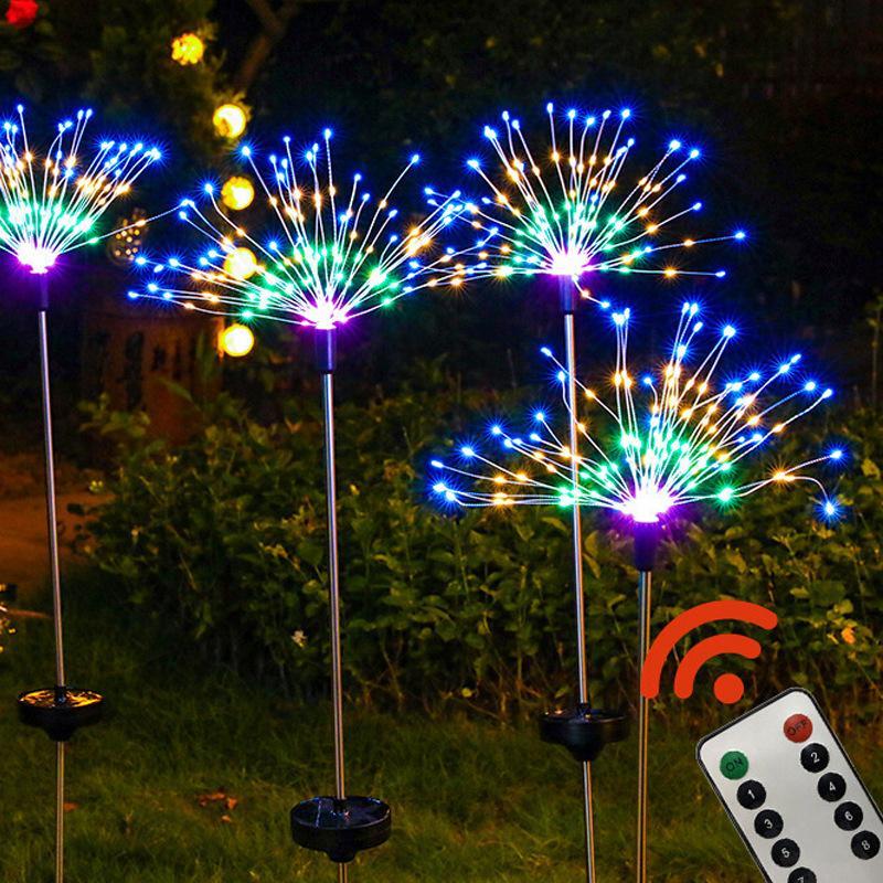 DIY الألعاب النارية أضواء الشمسية سلسلة 8 طرق 90/120/150 الصمام المصباح الشمسي للحديقة الديكور باقة عيد الميلاد أضواء هدية
