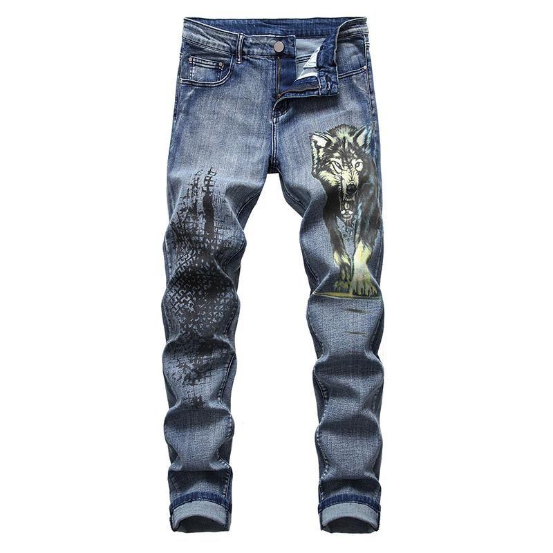 lupo stampato i jeans Moda Slim fit bestia Sokotoo uomo dipinto pantaloni denim stretch più i pantaloni di grandi dimensioni