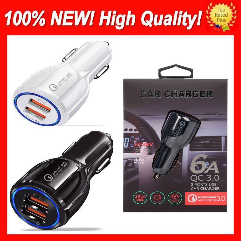 Universal Car USB-Ladegerät mit Kasten Schnellladeeinladung Telefon-Ladegerät 2-Port-USB-Fast-Car-Gebühr für iPhone Samsung Tablet Auto USB-Ladegeräte