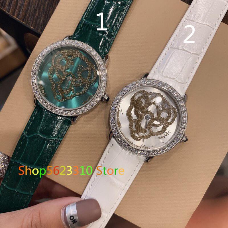 marca de moda Diseño de arena reloj panthere hueco bajar relojes Quarzt de cuero reales del reloj para las mujeres pantera regalo