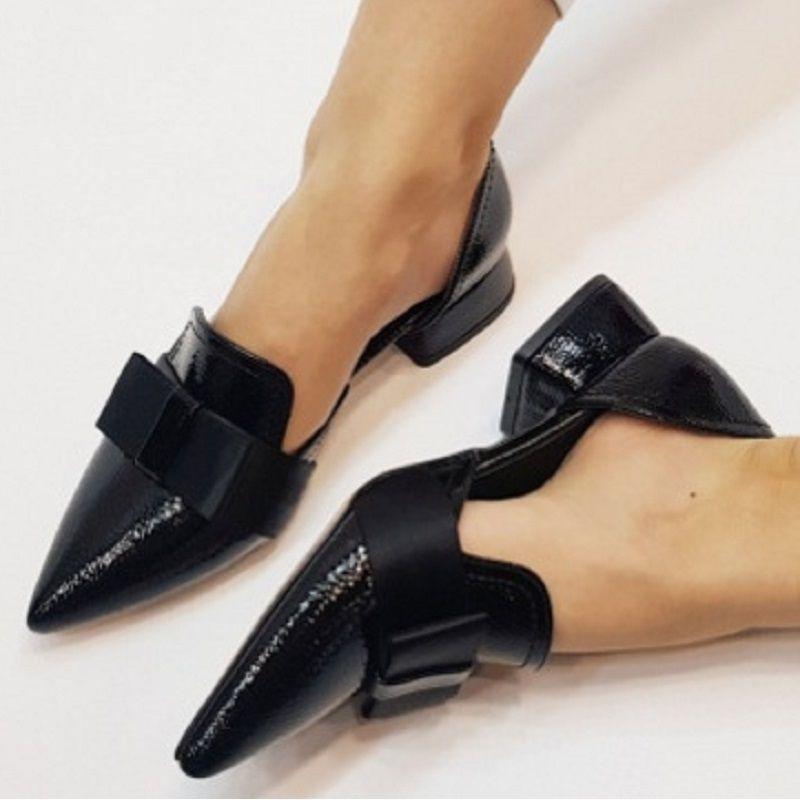 Новые женщины Туфли-скольжения на Остроконечные Toe офиса обувь Женская Летняя мода Bow Женский черный сандалии Большой размер Zapatos Mujer