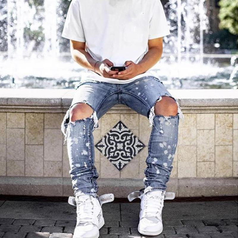 Men Jeans Pants Fashion male Street Slim paint Hole Casual Pants Trend Full Length Trousers Hot 2020