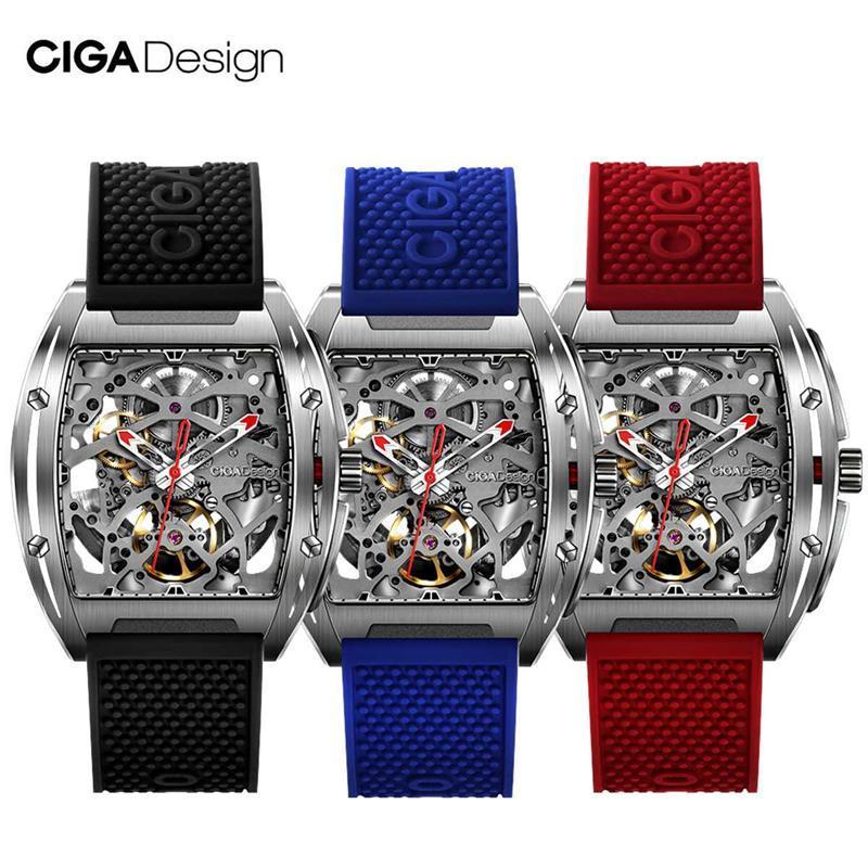 CIGA Design CIGA Watch Z Series Watch Barrel Type Double-Sided Hollow Automatic Skeleton Mechanical Men's Waterproof Watch Black Red Blue