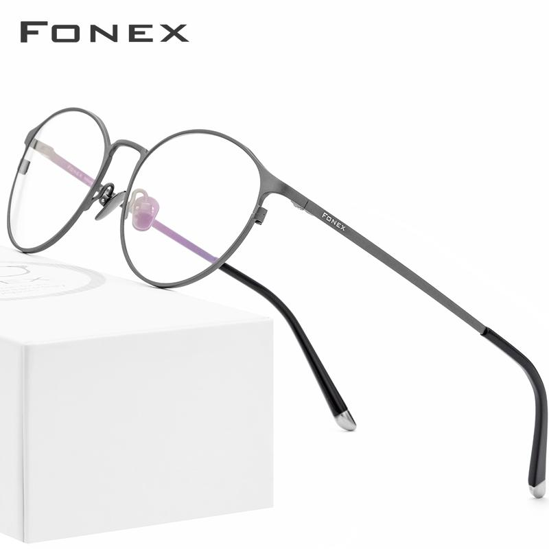 Pure Titanium Glasses Frame Men Vintage Round Eyewear Classic Optical Prescription Brand Designer Eyeglasses Frame Women 8501 T200812
