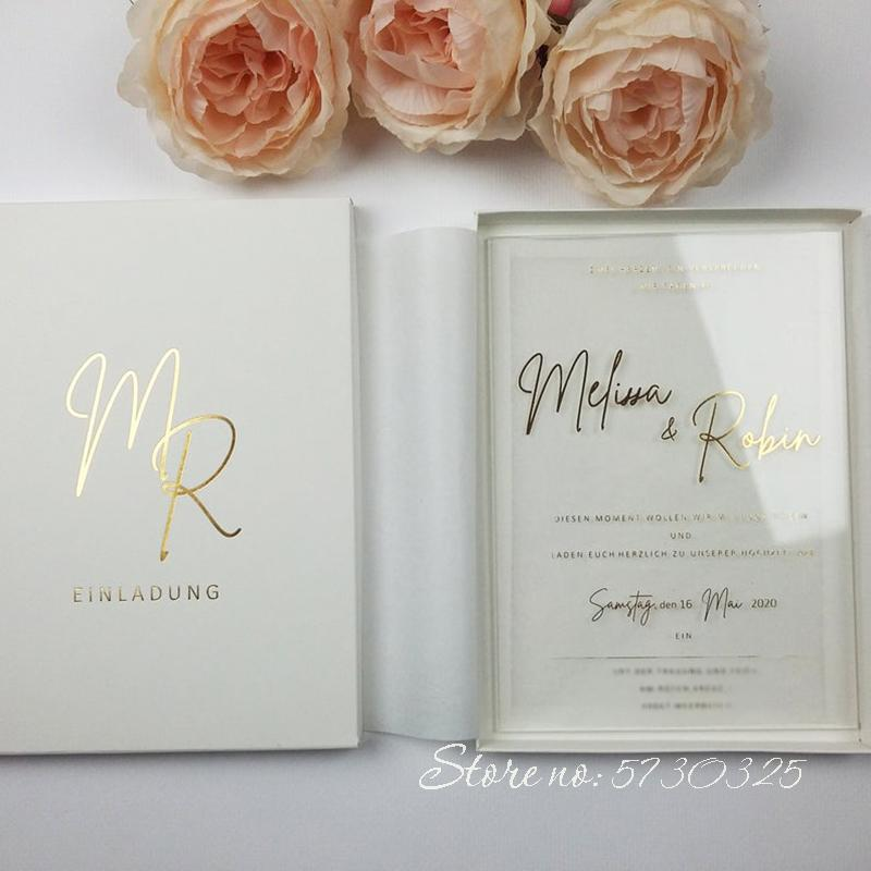 Tarjetas de boda de matrimonio acrílico de fosas de oro populares con el suministro personalizado de la caja al por mayor de la invitación de lujo personalizada tarjetas de boda