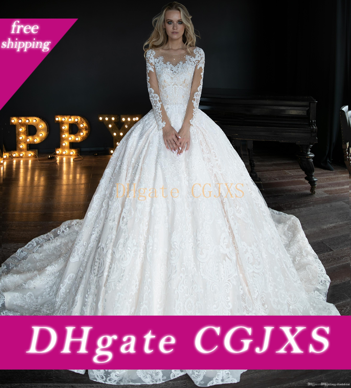 Elegante Sheer Lace de vestidos de casamento linha do pescoço mangas compridas frisada de cristal Rhinestone Tribunal de casamento vestido de trem de vestidos de noiva Robe De Mariee