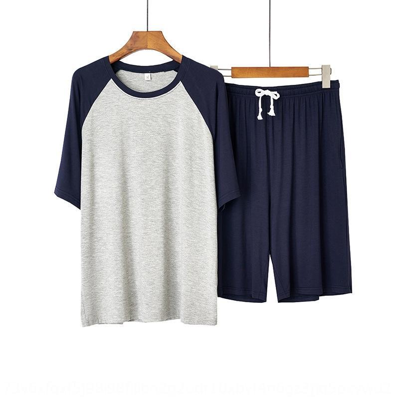 Yaz erkekler hafif kısa kollu mo dai er mian gündelik mürettebat Klima pijama pijama boyun L klima pijama teneke kutu dış