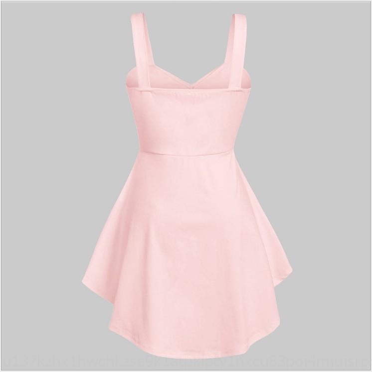 mzaDX mid-length 2019 women's rose large V-neck cross knot long skirt long skirt high size large swing EbTDg printed waist dress