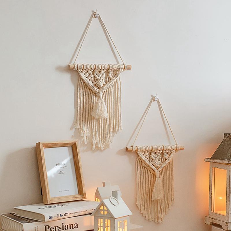 Colgar de la pared de la tapicería de algodón cuerda tejida mano de la borla de Bohemia Tapiz geométrico del arte Sala de estar hermosa decoración del hogar