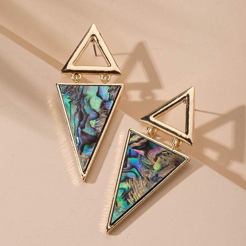 Venta al por mayor 10 pares Forma chapado en oro del triángulo de colores y Negro Pendientes Shell con la joyería del Rhinestone