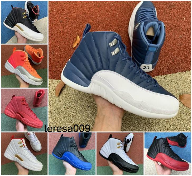 Nike air jordan retro 12s Basketball Shoes 12 Indigo Reverse Flu Game Taxi Dark Concord University Gold Game Royal Mens Trainers Sports Sneakers