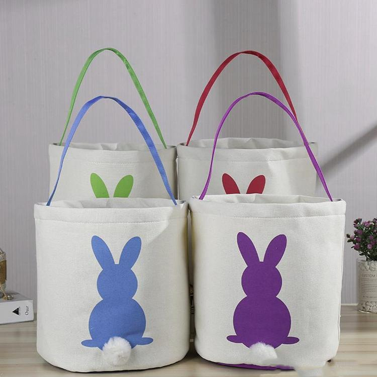 Pasqua del coniglio cestino del regalo rotondo della borsa del regalo della tela del fumetto Carino Bunny Tails Secchio messo il coniglio di Pasqua del coniglio del coniglio del secchio del secchio del secchio di diy AHE709
