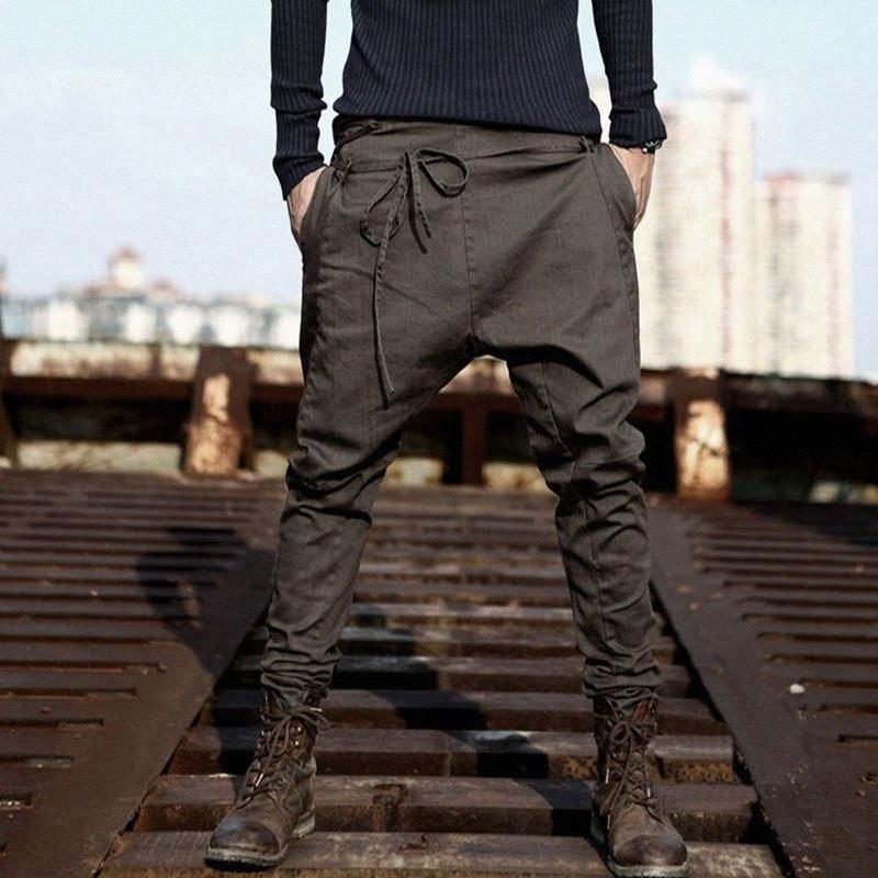 Calças dos homens alta Streetwear Cruz Calças dos homens da forma flacidez frescos Gota Crotch Calças Homens Joggers Pés calças Asiático Tamanho DhqB #