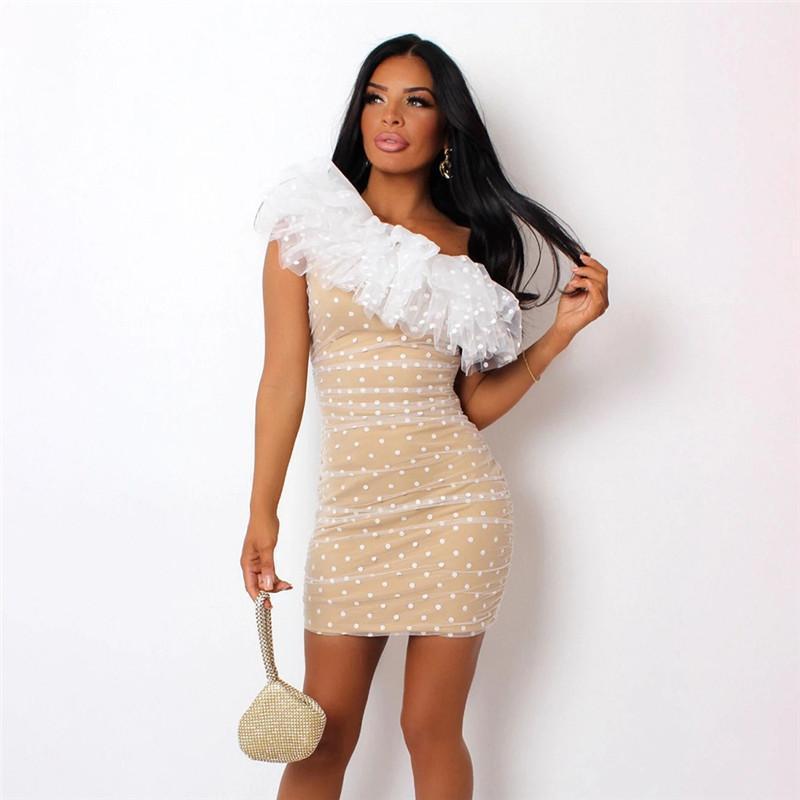 Diz Boyu Kalem Elbise Kadın Tasarımcı BODYCON Elbise Üstü Tek Omuz Polka Dot Elbise Moda Kasetli Giyim Kadın Casual yazdır