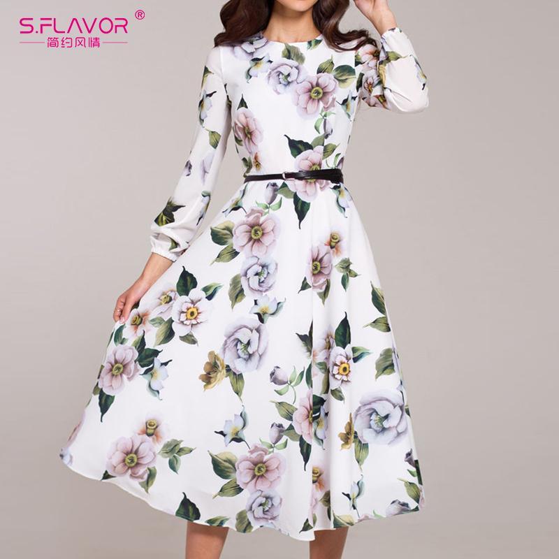 Sıcak Satış S.FLAVOR Kadınlar Casual Midi Elbise 2020 Yaz Baskı vestidos de Bayanlar YOK KEMER Şık Vintage A Hattı Elbiseler