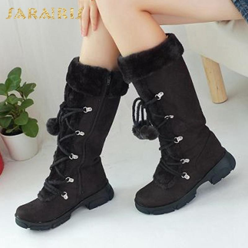 SARAIRIS 2020 Big Size 43 confortevoli inverno della pelliccia della peluche a prova di freddo donna dei pattini tenere in caldo all'aperto Snow Boots Female