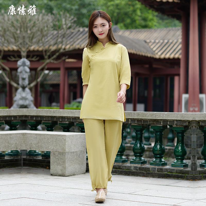 spring women yoga set cotton linen loose yoga shirt wide leg pant meditation tai chi uniforms martial arts kungfu suit