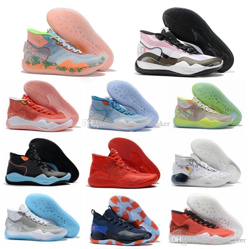 2019 Hot Mvp Kevin Durant KD 12 Université anniversaire 12S XII Oreo Hommes Chaussures de basket États-Unis Elite KD12 Sport Sneakers Taille 40-46