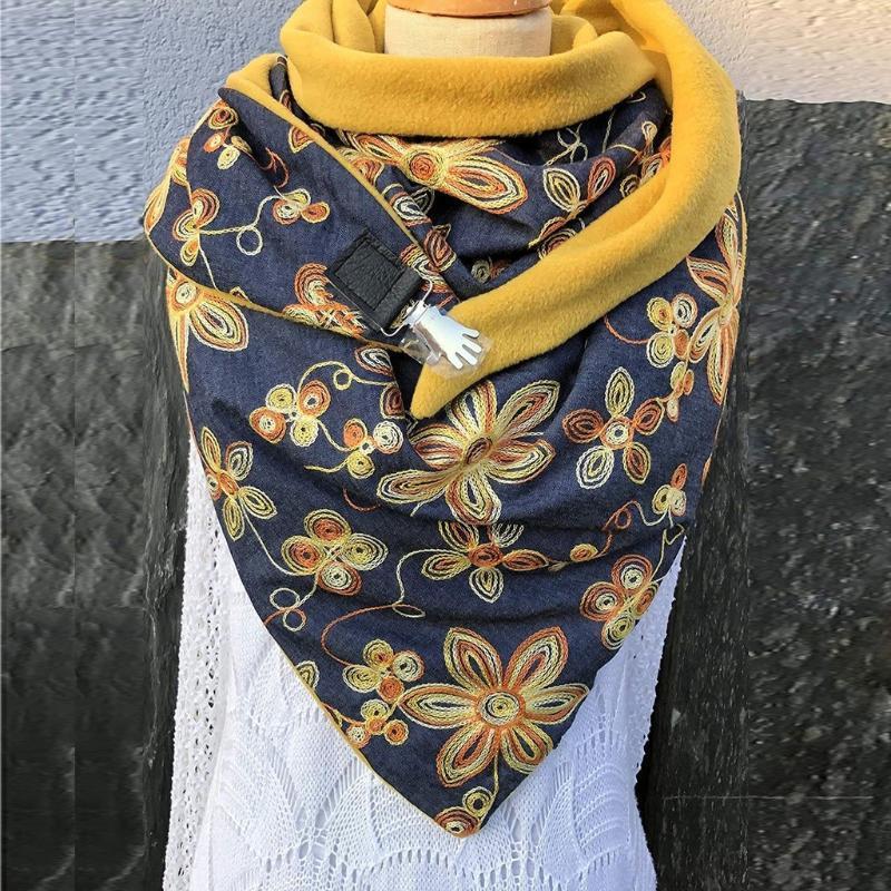 Schal für Frauen arbeiten Weinlese-Plaid Patchwork-Winter-warme Tücher Soild Punkt-Drucken-Taste weicher Verpackungs-beiläufige warmen Schal