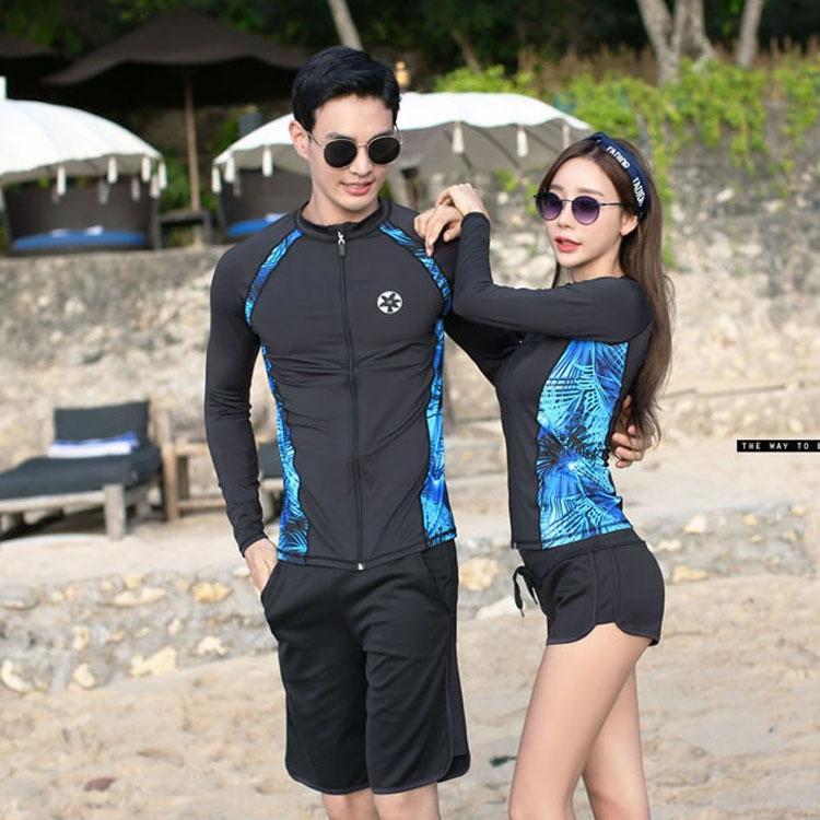 vLwQp 2020 yeni Koreli çift bölünmüş şnorkel kol sörf dalış denizanası fermuar dalgıç elbisesi uzun tarzı erkek ve kadın fermuar takım clo