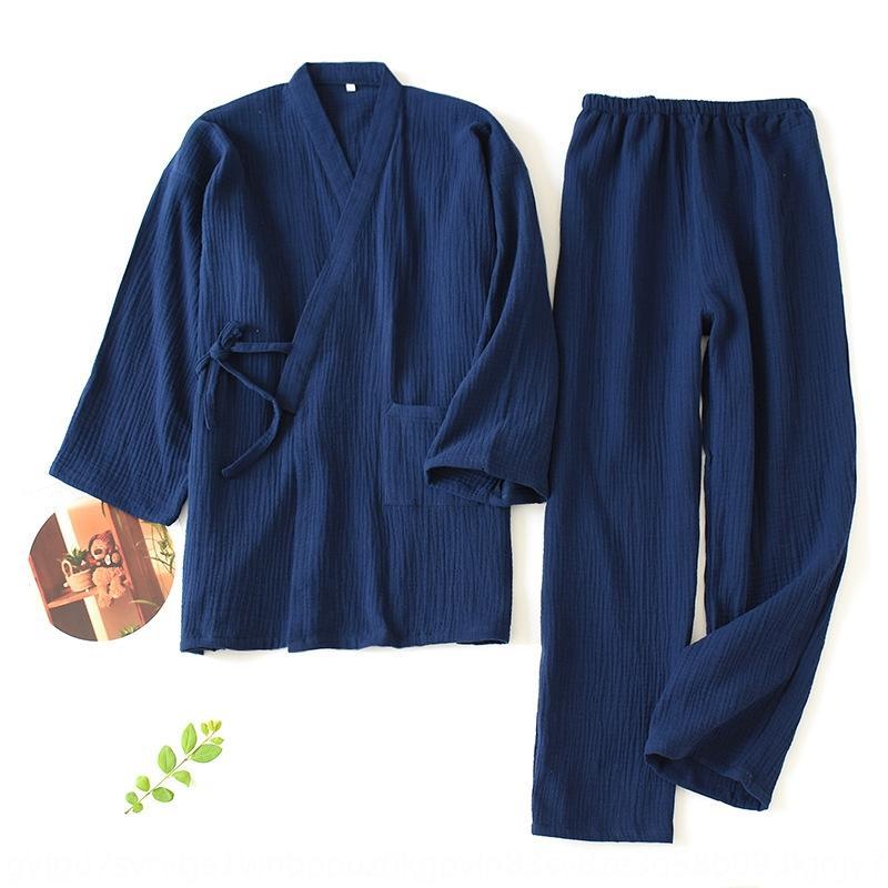 UsW75 NMqed primavera verano de algodón cosechado Albornoz pareja de origen kimono de las mujeres pijamas y ropa Albornoz ropa de la manga de los pantalones en casa Japane