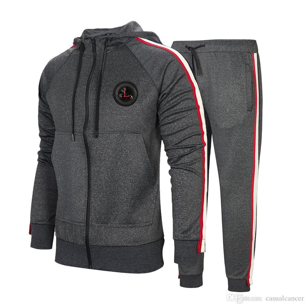 Erkekler Spor Hoodie Ve Tişörtü Siyah Gri Sonbahar Kış Jogger Spor Suit Erkek eşofman Çizgili yapağı Koşu Suits Sweat