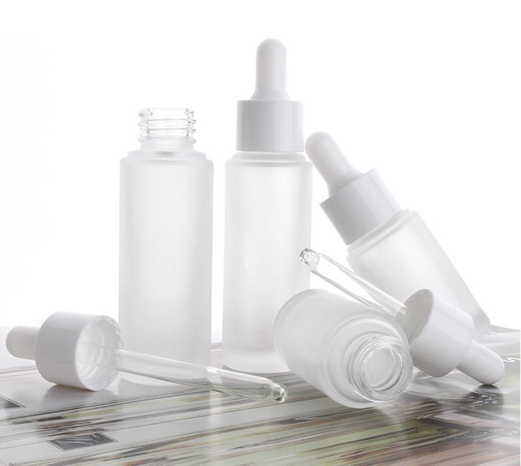15 ml 30ml leeres mattiertes klares klares Glas-Troppfe-Flaschenauge ätherisches Öl Serum-Glasflasche mit weißem Troppfer-Kosmetikbehälter QDWDW