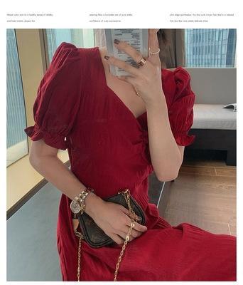 8vbJF 2020 Летнего платье французской стороны шнурка воротник высокой талия похудение пурпурно разделить красный куриный пузырь платье для женщин
