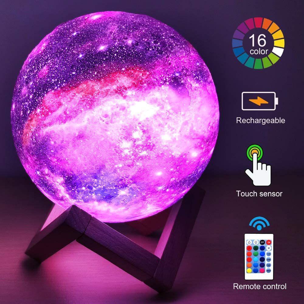 3D القمر مصباح الاطفال غالاكسي الخفيفة ليلة نجوم 5.9 غلوب ضوء USB قابلة للشحن تعمل باللمس التحكم عن بعد الكمال هدية عيد ميلاد للبنين / بنات / الطفل