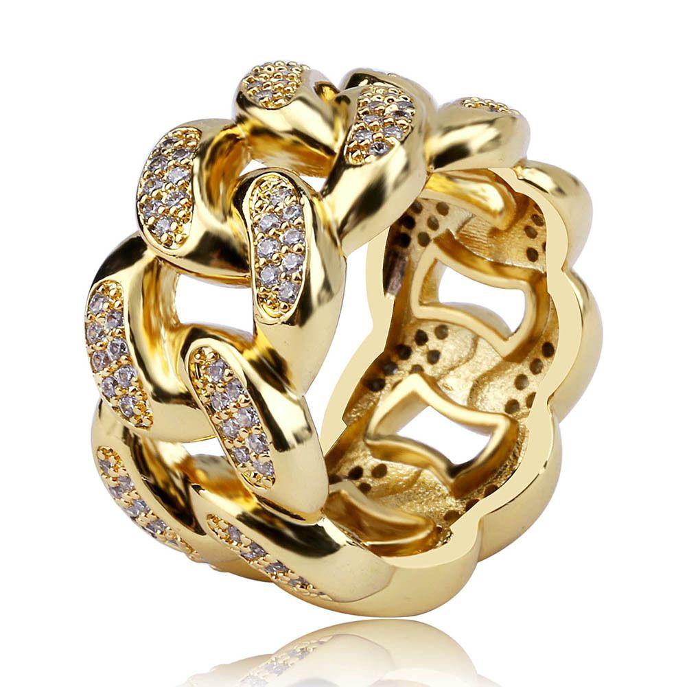 18K золото Белого золото гальванической CZ Цирконий Hollowed кубинских цепи Кольцо Алмазного Hip Hop ювелирные подарки для мужчин женщин 13мм Размера 7-11 оптом