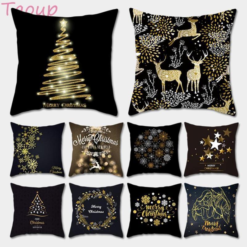 Taoup Oro Negro del copo de nieve Feliz Navidad de la funda de almohada Decoración de Navidad para la decoración casera para Navidad Adornos de Navidad Noel Santa Claus