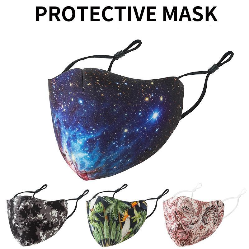 3D цветок напечатанного конструктора хлопок маска пыл Reuseables Mouth респиратор Регулируемых Легкая чистка Удобных маски