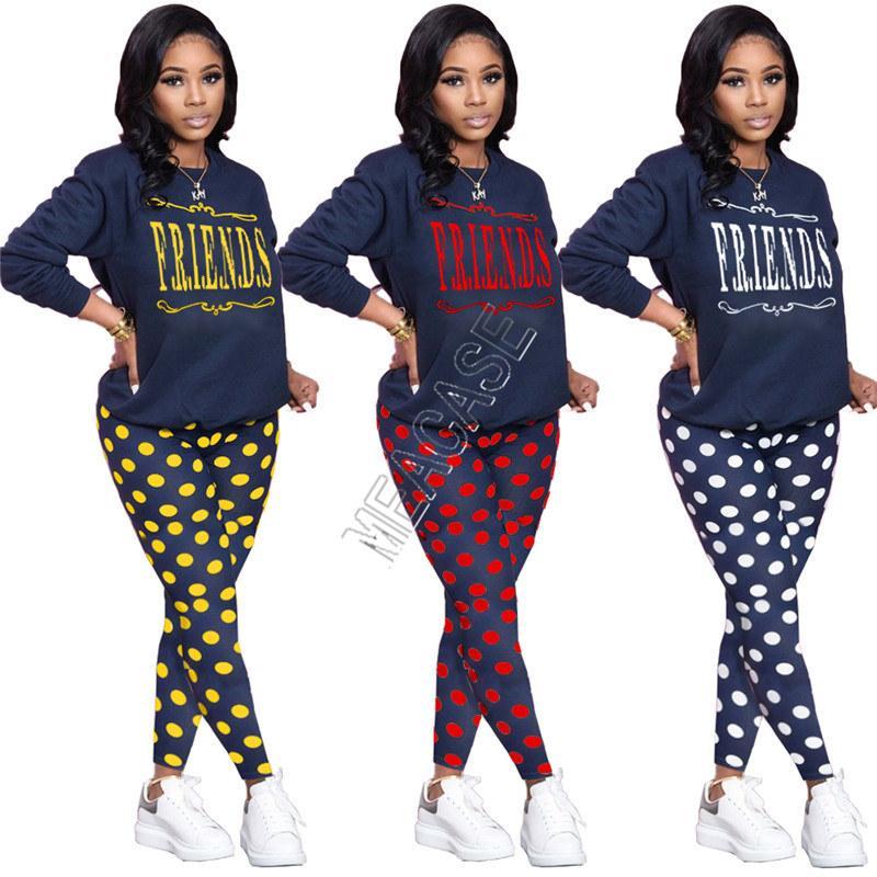 Frauen Trainingsanzug Designer Polka Dot Freunde Brief Drucken Lose Langarm Top Sweatshirt Slim Hosen Leggings Zwei Teile Set Outfits D82605