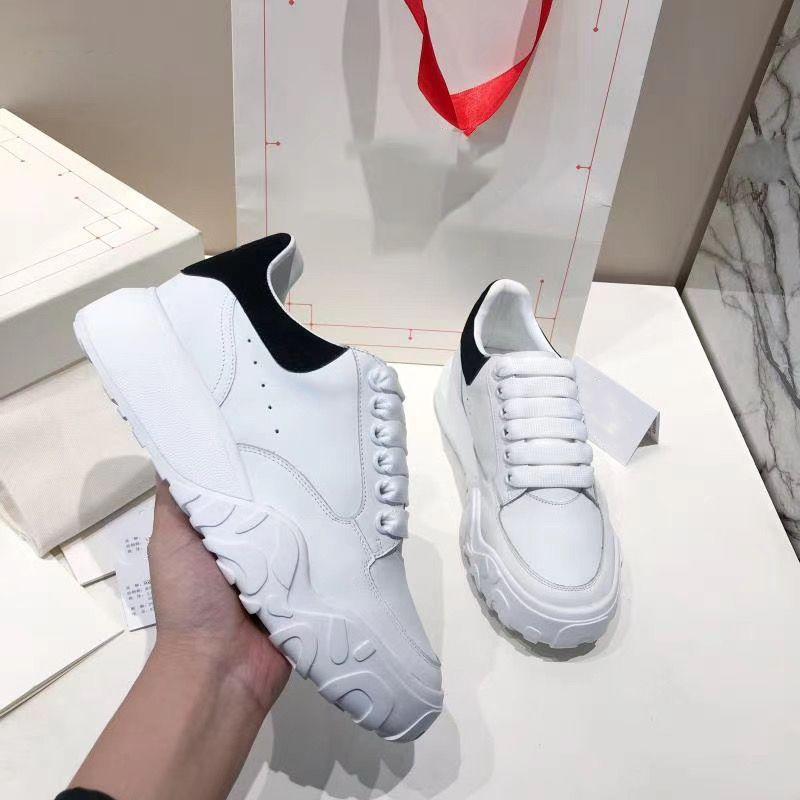 أعلى جودة المتضخم المحكمة المدرب أزياء مصمم منصة أحذية رياضية العجل جلد أسود أبيض رياضة الرجال النساء عارضة الأحذية
