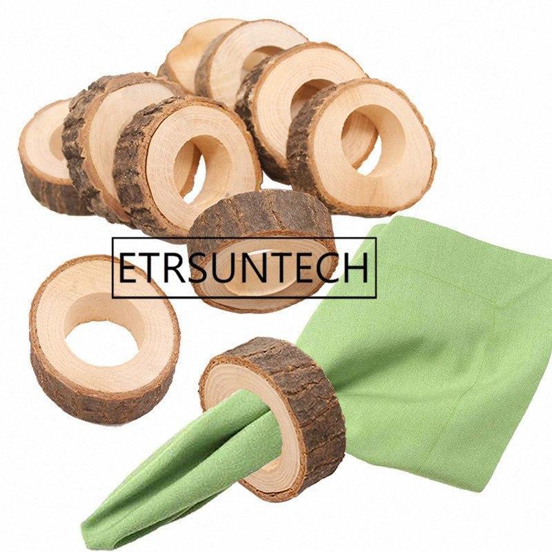 200pcs legno naturale Ceppaia Anelli di tovagliolo di stoffa per la cerimonia nuziale della festa di Natale Dinner Decoration kmhL #