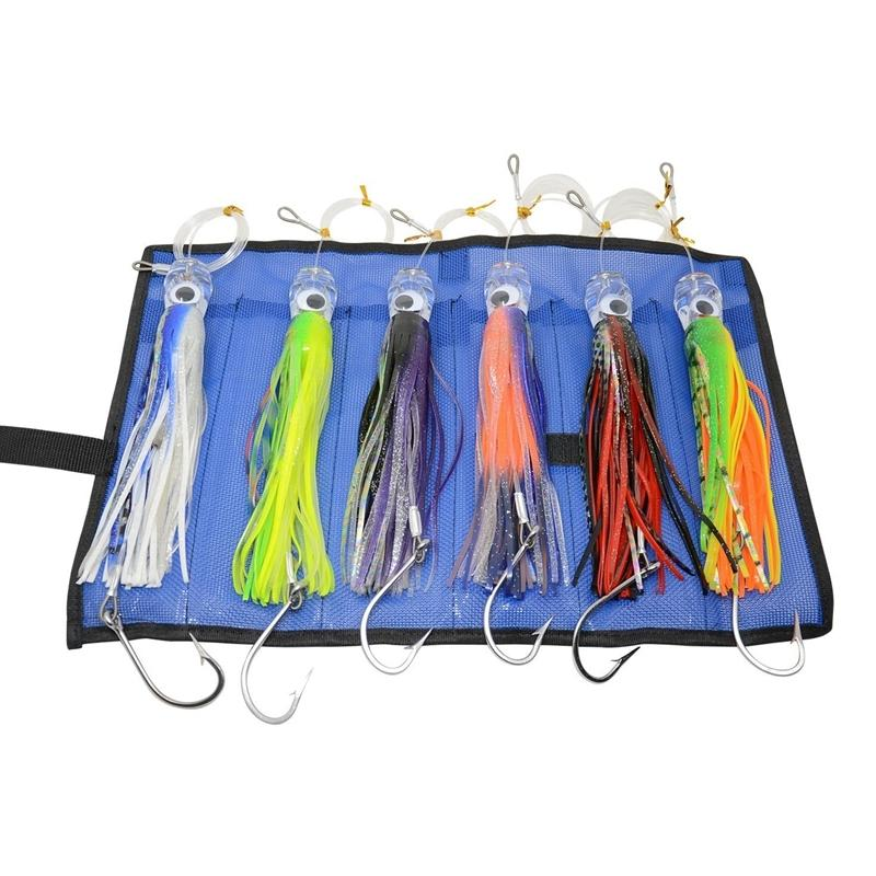 6 pcs 9 Inch Saltwater Fishing Lures Trolling Lures for Tuna Marlin Dolphin Mahi Wahoo and Durado, Included Rigged Big Game Fish Y200829