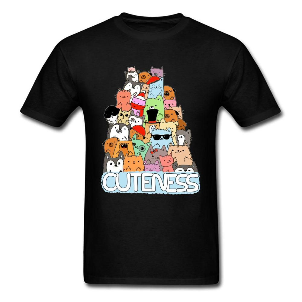 Повседневный с коротким рукавом Топы Тис Смешные Cute Kitten Cuteness мультфильм футболки хлопок Student T-Shirt Высокое качество Толстовка O-образным вырезом