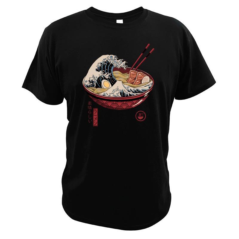 Kanagawa camiseta Ramen Harajuku Camiseta japonesa de algodón de manga corta de verano de Japón Imprimir Eu Tamaño Tops T-Homme
