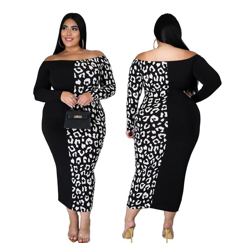Artı Boyut XXL-6XL Elbise Kadınlar Şık Maxi Elbise Yeni Moda Seksi BODYCON Kapalı Omuz Vintage Parti Toptan Dropshpping