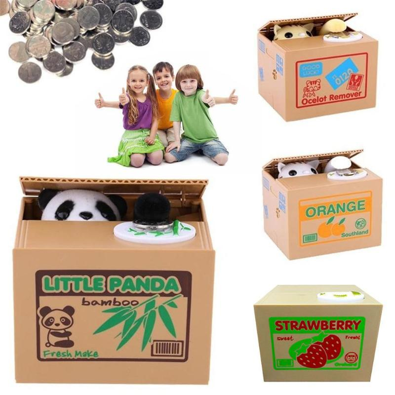 Blanc / Jaune Cat Panda automatique Stealing Coin Cat Kitty Coins Penny Cents Tirelire Saving Box Tirelire Kid cadeaux pour enfants