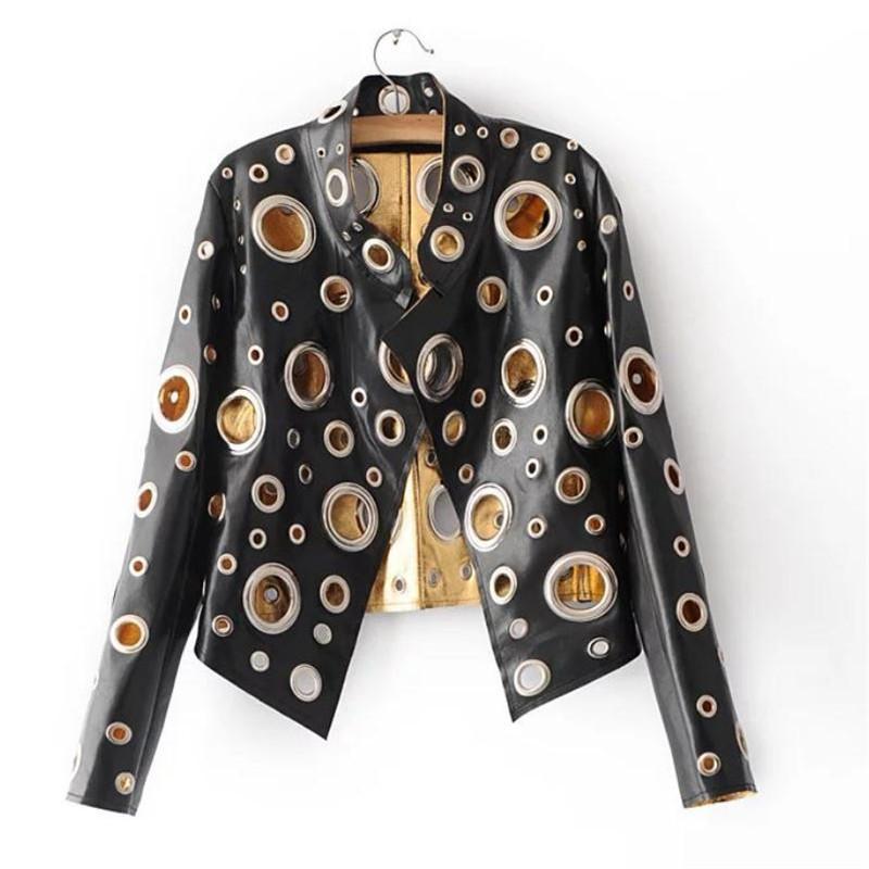 Cuello de pie de moda europeo y americano Cuello PU Abrigo suelto Brillante Apertura Anillo de metal Decoración PU Chaquetas Abrigos Negro XL