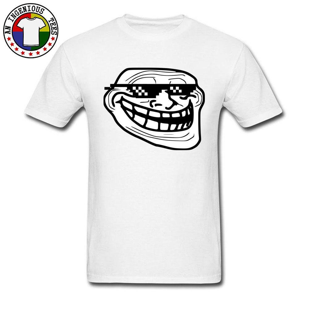 Trollface Face 100% хлопок Мужчины с коротким рукавом Топы Рубашки Интересные футболки Brand-одежда Europe Футболка Большой размер XXXL
