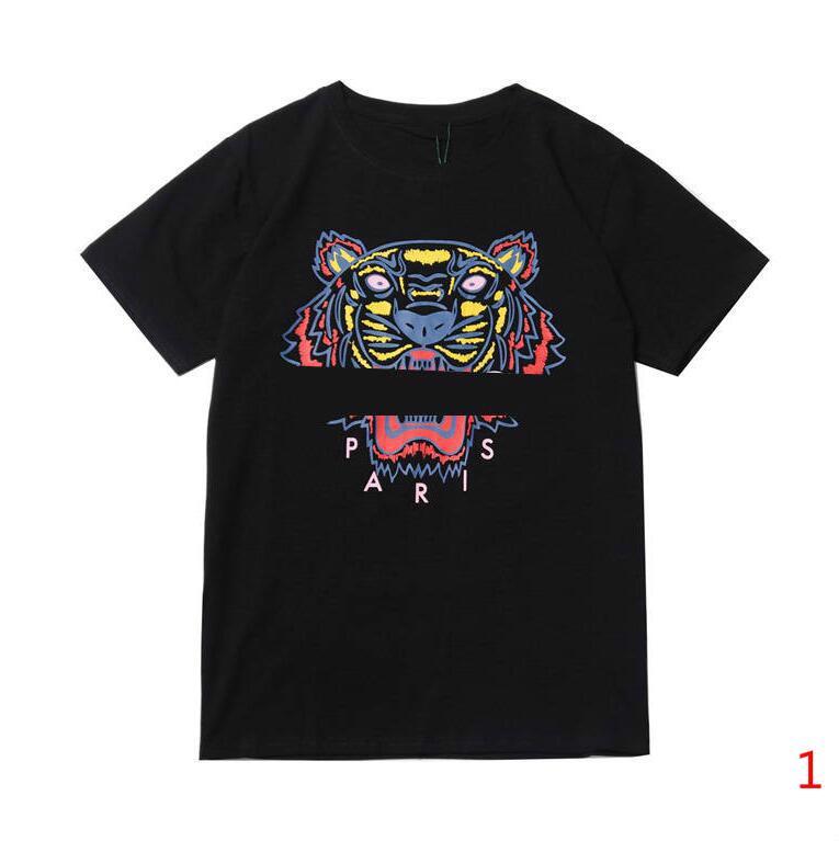 18 Stiller Erkek Kadın Tişört Kaplan Baskılı 20s Yeni Erkek Yaz Gömlek Moda Mürettebat Boyun Nefes Erkekler Giyim Boyut S-XL Temin