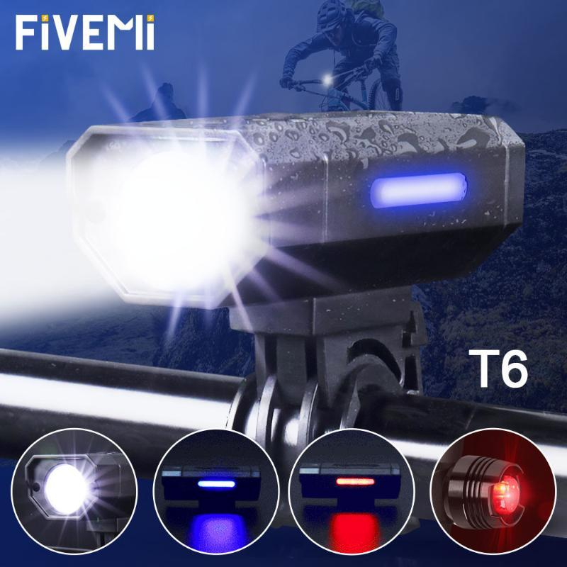 2000mAh Bicycle Front Light Set USB Rechargeable LED Head Light with Horn Bike Lamp Cycling For Bike Accessories