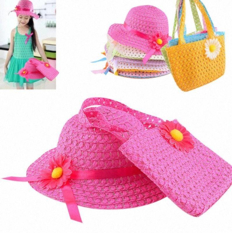 Bambini Flower Girl Cappelli borsa vestito cappello di paglia Beach protezione della paglia del cappello di Sun Flower Beach Bag KKA4392 zAZL #